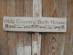 Primitive Shabby Chic Olde Country Bath House Hand Stenciled Wooden Sign
