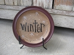 Primitive Country Chic Winter Season Mini Word Hand Painted Decorative Plate