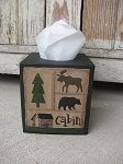 Primitive Northwoods Lodge Moose and Bear Cabin Sampler Tissue Box