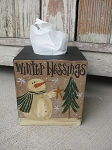 Primitive Snowman Winter Blessings Hand Painted Tissue Box Cover
