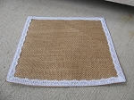 Primitive Shabby Chic Burlap and Lace Square Candle Mat