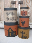 Primitive Spooky Halloween Themed Set of 5 Tall Oval Stacking Boxes