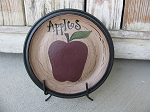 Primitive Country Farm Fresh Apple Hand Painted Decorative Plate