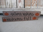 Primitive Hand Lettered Autumn Fall Greeting Sign with Pumpkins Lg.