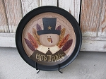 Primitive Fall Autumn Thanksgiving Give Thanks Turkey Hand Painted Decorative Plate