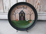 Primitive Autumn Haunted Halloween Saltbox House Hand Painted Decorative Plate
