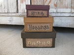 Primitive Spring Blessings Daisy Square Stacking Boxes