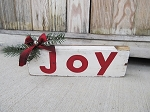 Primitive Rustic Red Joy Block Sign with Greens Red Buffalo Plaid Bow and Jingle Bell