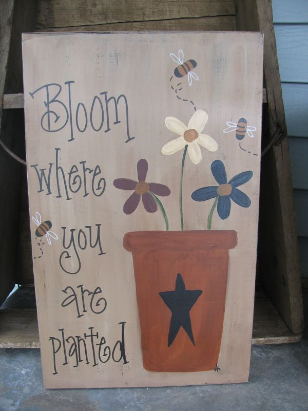 Primitive Flower Pot Flowers And Bees Hand Painted Wooden Sign