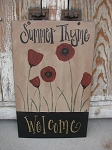 Primitive Hand Painted Poppy Large Welcome Sign