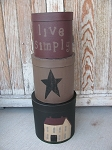 Primitive Large Saltbox Stack Boxes Round Set of 3