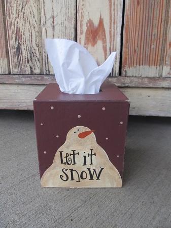Primitive Let It Snow Snowman Tissue Box Cover With Color