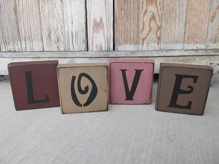 Primitive Love Hand Painted Wooden Block Set Of 4