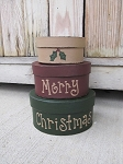 Primitive Merry Christmas with Holly Leaves Hand Painted Set of 3 Small Oval Stacking Boxes