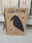 Primitive Olde Crow and Black Stars Vertical Vintage Hand Painted Book