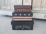 Primitive Olde Glory Stars and Stripes 1776 Set of 3 Rectangle Stacking Boxes