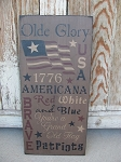 Primitive Olde Glory Americana Typography Hand Stenciled Sign
