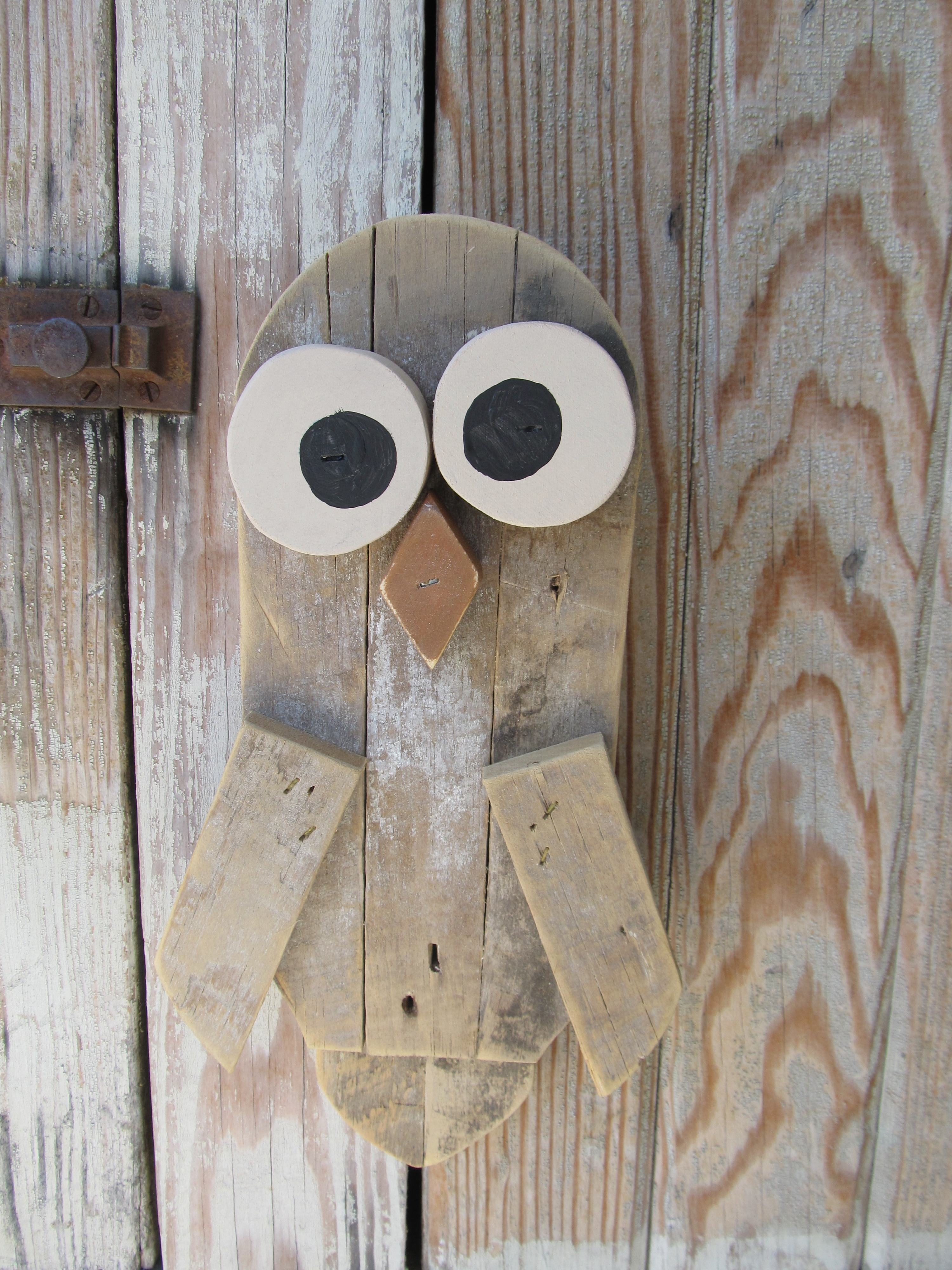 Primitive Hand Made Wooden Lathe Owl 3 Color Choices