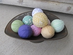 Primitive Hand Wrapped Spring Colored Set of 9 Rag Balls
