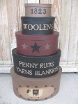 Primitive Penny Rug and Woolens Set of 5 Oval Stacking Boxes