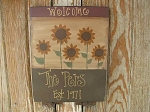 Primitive Personalized Sunflowers Hand Painted Sign