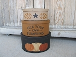Primitive Fall Autumn Pick Your Own Pumpkins Oval Stack Boxes Set of 3