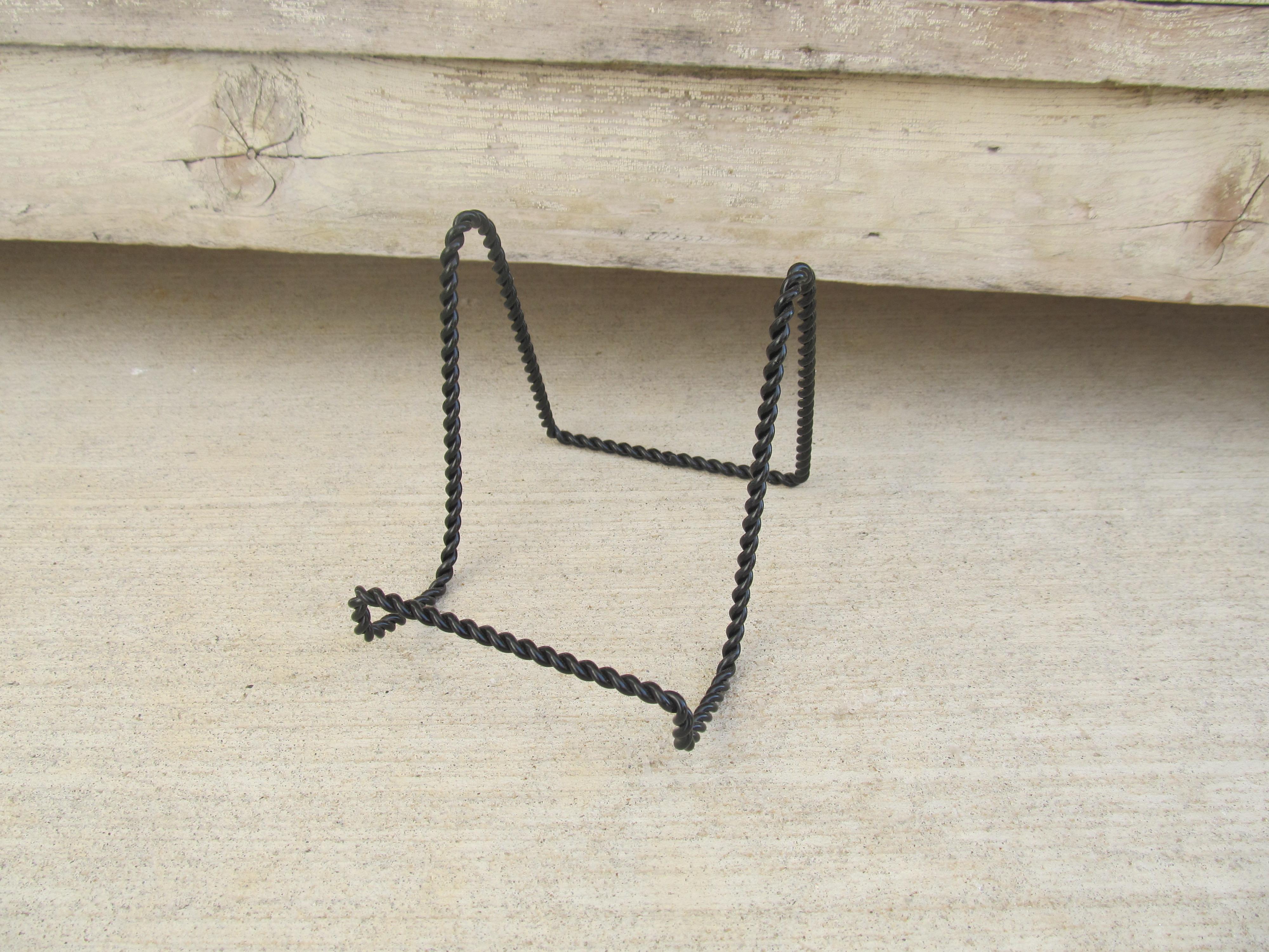Home u003e Farmhouse Handmade Decor u003e Black Twisted Steel Easel Plate Holder Stand Rack & Black Twisted Steel Easel Plate Holder Stand Rack