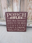 Primitive Porch Rules Hand Painted Wooden Sign with Color Options