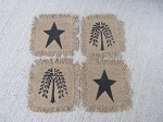 Primitive Hand Painted Stars and Willows Burlap Cotton Fringed Coaster Set of 4