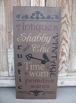 Primitive Antiques Vintage Time Worn Primitive Wares Typography Hand Painted Sign