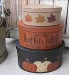 Primitive Fall Autumn Pumpkin Patch Oval Stack Boxes Set of 3