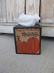 Primitive Blessings Pumpkins Wheat and Bittersweet Hand Painted Tissue Box Cover with Color Choices