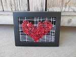 Primitive Antique Vintage Red Button Heart Horizontal Frame on Black and White Fabric