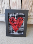 Primitive Antique Vintage Red Button Heart Vertical Frame on Black and White Fabric
