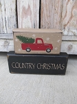 Primitive Hand Painted Red Truck Country Christmas Tree Stacker Blocks Set of 2