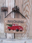 Primitive Red Truck Christmas Hand Painted Vintage Hanging Book with Color Options