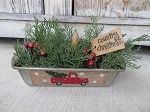 Primitive Winter Christmas Red Truck Vintage Bread Tin Loaf Pan Timer Light