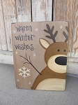 Primitive Personalized Winter Christmas Reindeer Sign