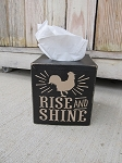 Farmhouse Primitive Rustic Rise and Shine Rooster Hand Painted Tissue Box Cover