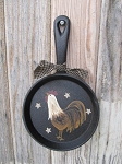 Primitive Country Hand Painted Rooster Cast Iron Mini Skillet