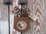 Primitive Country Rooster Rusty Tin Hanging Pocket