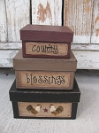 Primitive Country Rooster Square Stacking Boxes