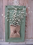 Primitive Sage Green Wood Door Panel with Buttercup Florals and Burlap Bag