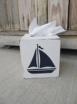 Nautical Lake Beach Rustic Sailboat Hand Painted Tissue Box Cover
