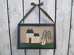 Primitive Saltbox and Sheep Hand Painted Hanging Vintage Book