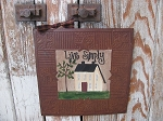 Primitive Country Cream Saltbox Hand Painted Rusty Tin Tile Painting