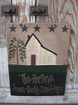 Primitive Saltbox and Stars Hand Painted Personalized Sign