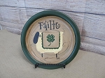 Primitive St. Patrick's Day Sheep with Shamrock Quilt Hand Painted Plate