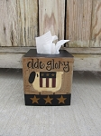 Primitive Country Americana Sheep with Flag Quilt Hand Painted Tissue Box