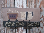Primitive Sheep with Daisy Flower Cart Hand Painted Sign